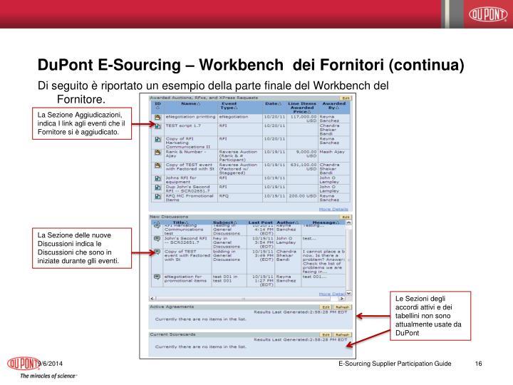 DuPont E-Sourcing – Workbench  dei Fornitori (continua)