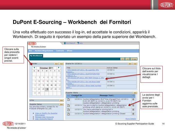 DuPont E-Sourcing – Workbench  dei Fornitori