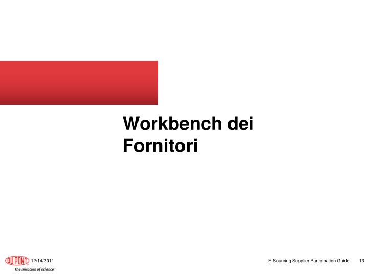 Workbench dei Fornitori