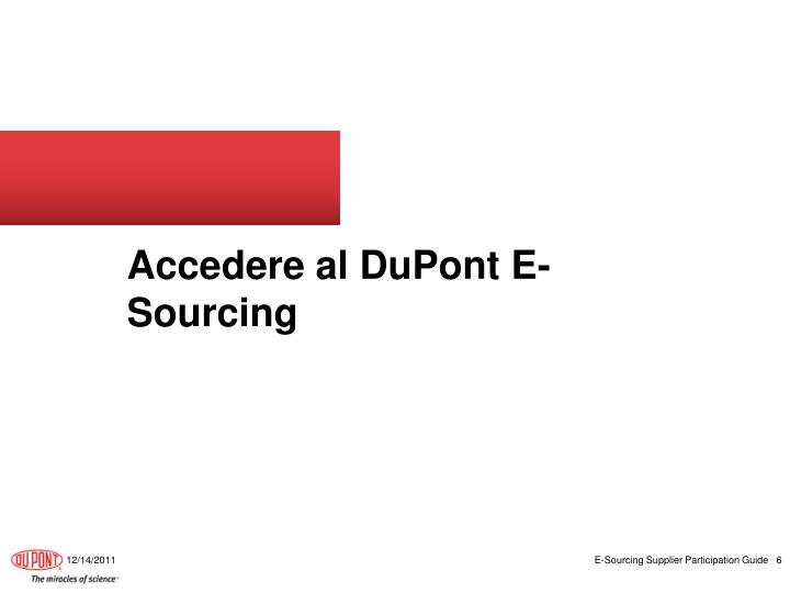 Accedere al DuPont E-Sourcing