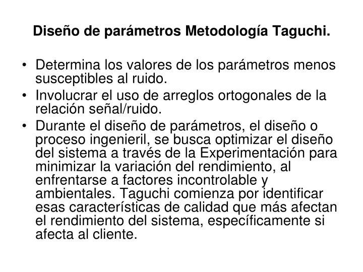 Diseño de parámetros Metodología Taguchi.