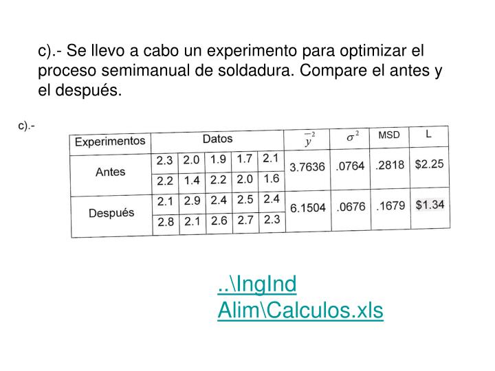 c).- Se llevo a cabo un experimento para optimizar el proceso semimanual de soldadura. Compare el antes y el después.