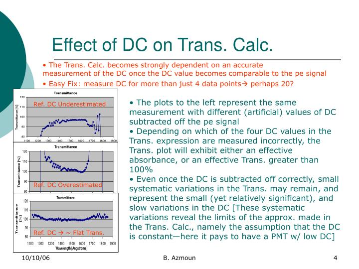 Effect of DC on Trans. Calc.
