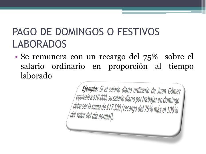 PAGO DE DOMINGOS O FESTIVOS LABORADOS
