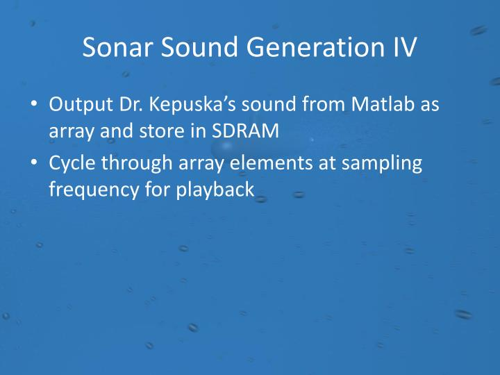 Sonar Sound Generation IV