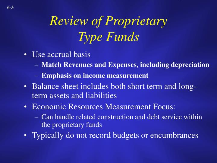Review of proprietary type funds