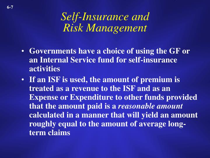Self-Insurance and