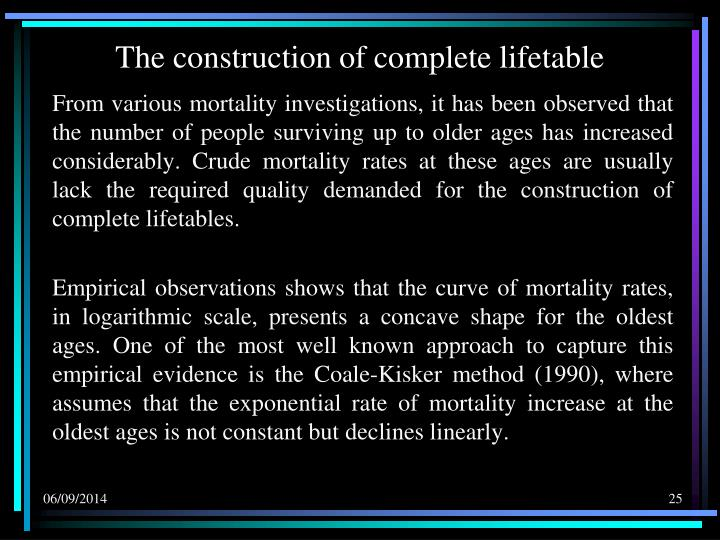 The construction of complete lifetable