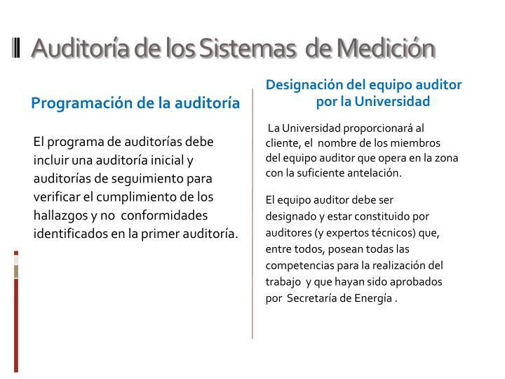 Auditoría de los Sistemas  de Medición
