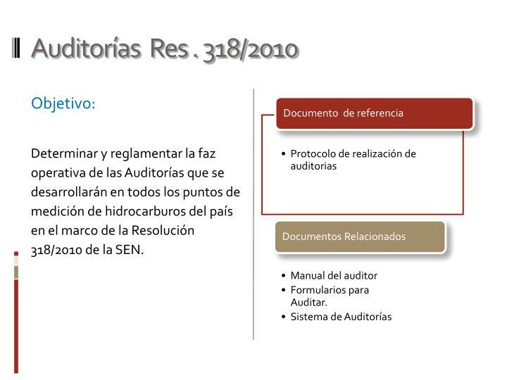 Auditorías  Res . 318/2010