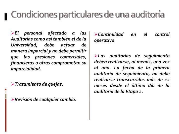 Condiciones particulares de una auditoría