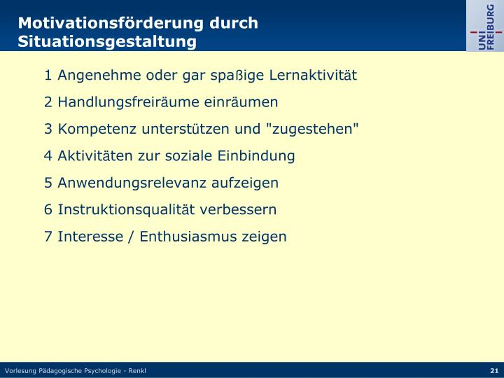 Motivationsförderung durch Situationsgestaltung