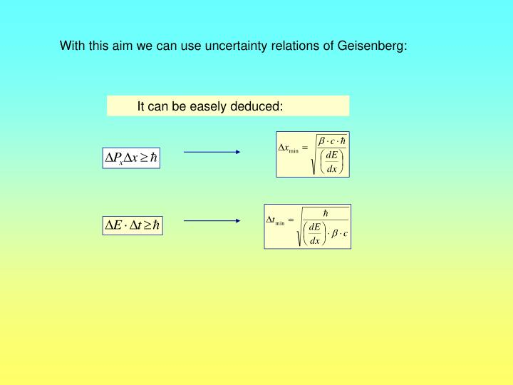 With this aim we can use uncertainty relations of Geisenberg: