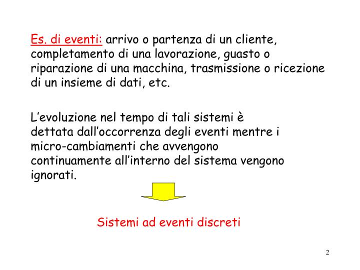 Es. di eventi: