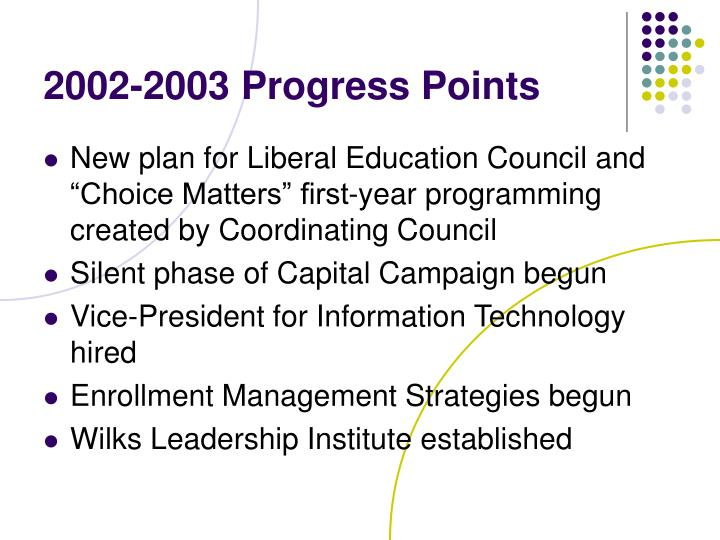 2002-2003 Progress Points