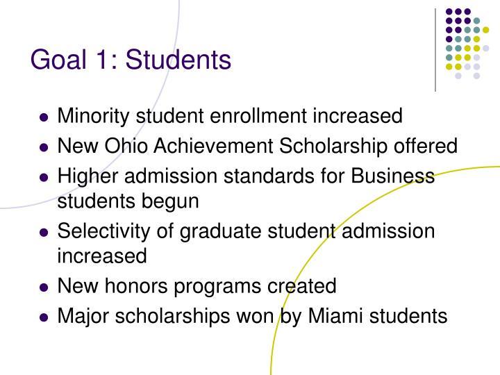 Goal 1: Students