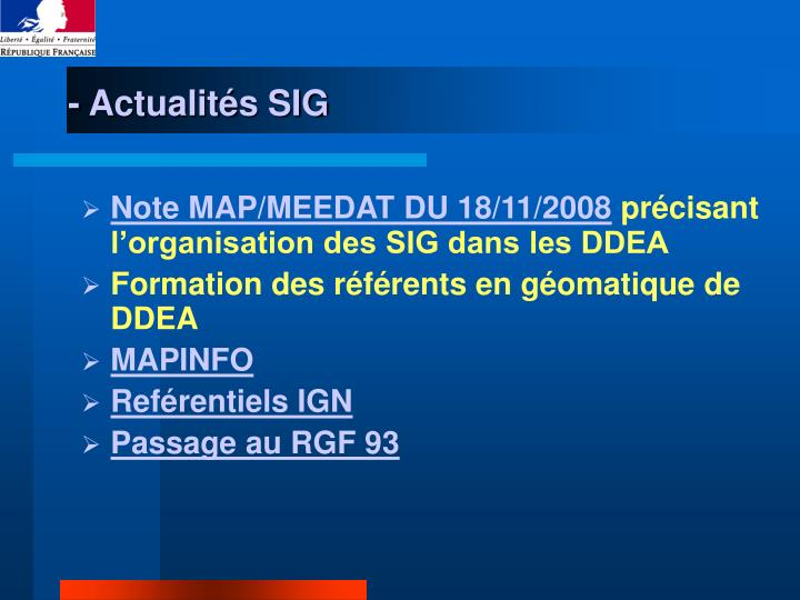 - Actualités SIG