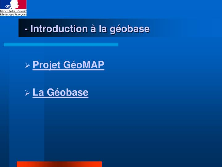 - Introduction à la géobase