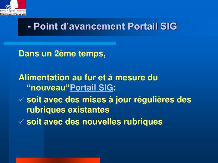 - Point d'avancement Portail SIG