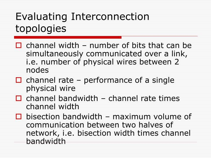 Evaluating Interconnection topologies