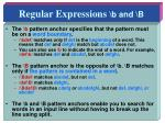 regular expressions b and b