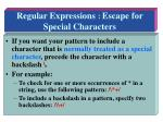 regular expressions escape for special characters