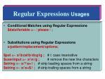 regular expressions usages