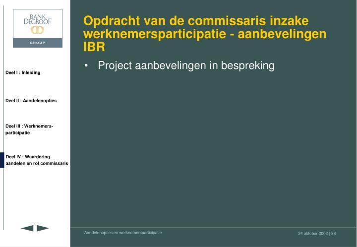 Opdracht van de commissaris inzake werknemersparticipatie - aanbevelingen IBR