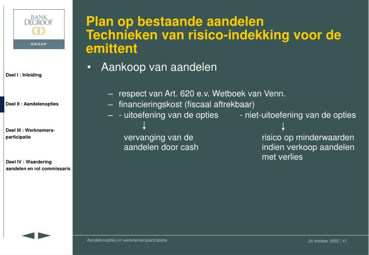 Plan op bestaande aandelen