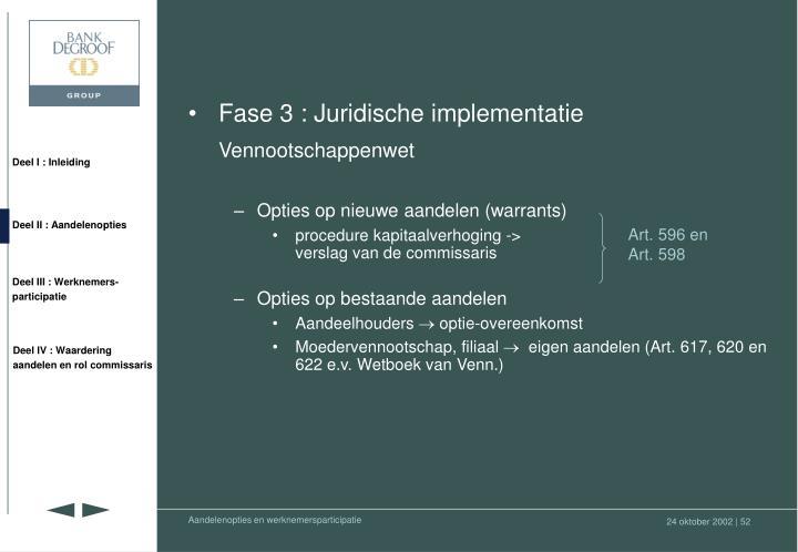 Fase 3 : Juridische implementatie