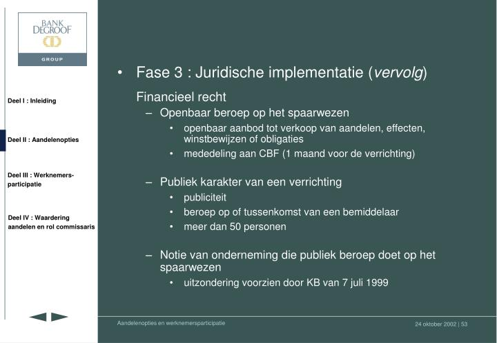Fase 3 : Juridische implementatie (