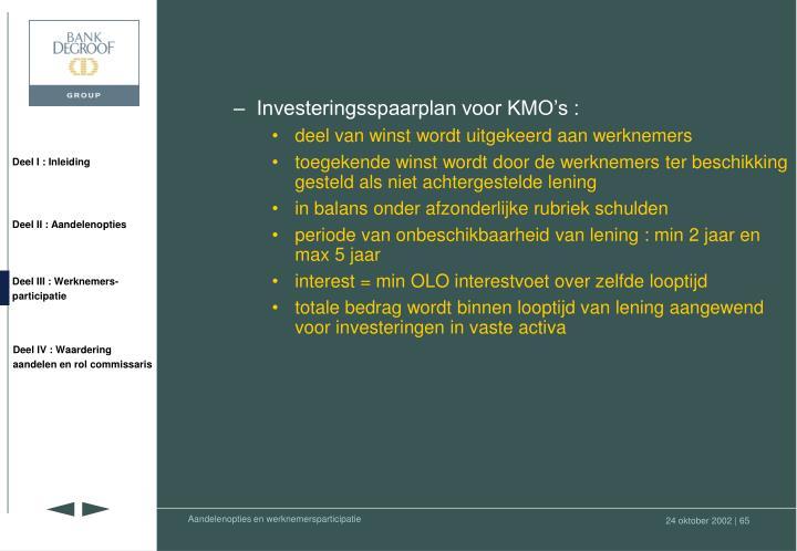 Investeringsspaarplan voor KMO's :