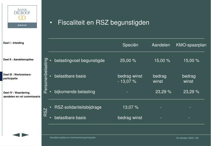 Fiscaliteit en RSZ begunstigden