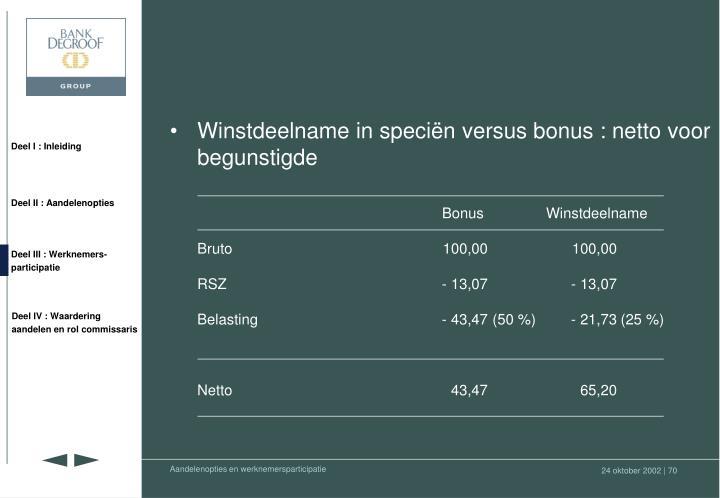 Winstdeelname in speciën versus bonus : netto voor begunstigde