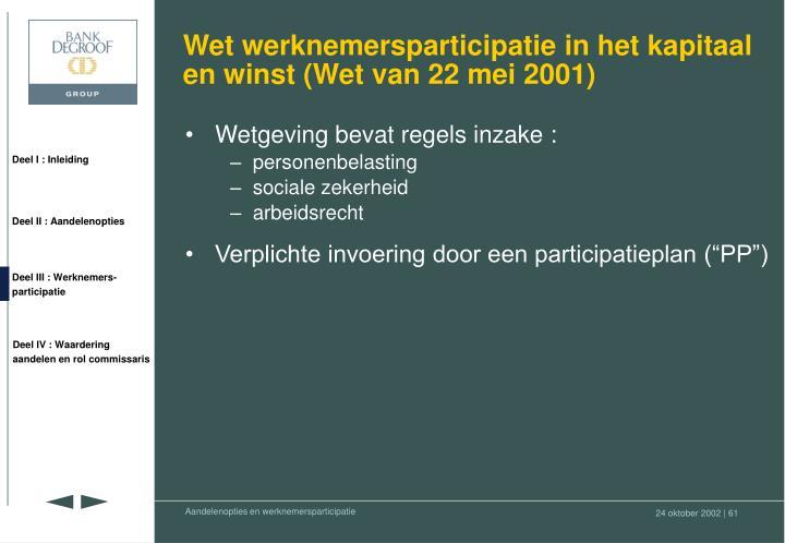 Wet werknemersparticipatie in het kapitaal en winst (Wet van 22 mei 2001)