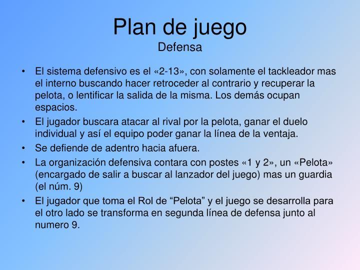 Plan de juego