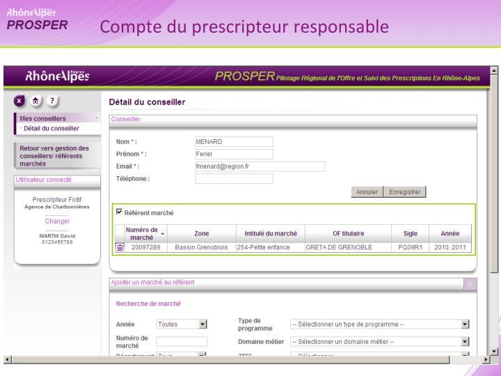 Compte du prescripteur responsable