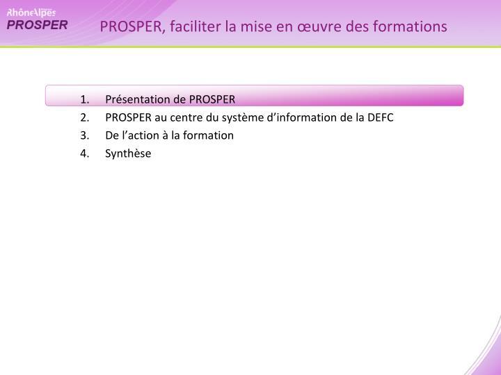 PROSPER, faciliter la mise en œuvre des formations