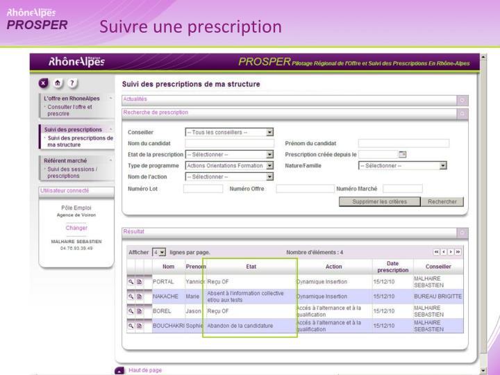 Suivre une prescription