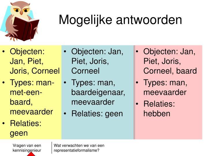Objecten: Jan, Piet, Joris, Corneel