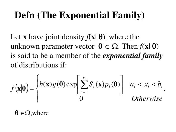 Defn (The Exponential Family)