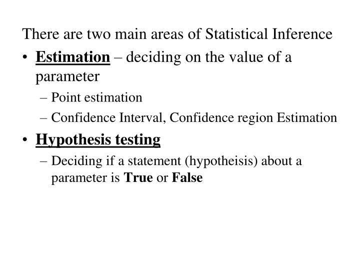 There are two main areas of Statistical Inference