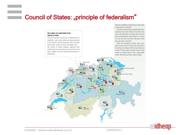"""Council of States: """"principle of federalism"""