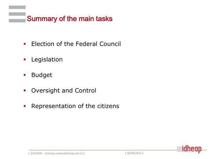 Summary of the main tasks
