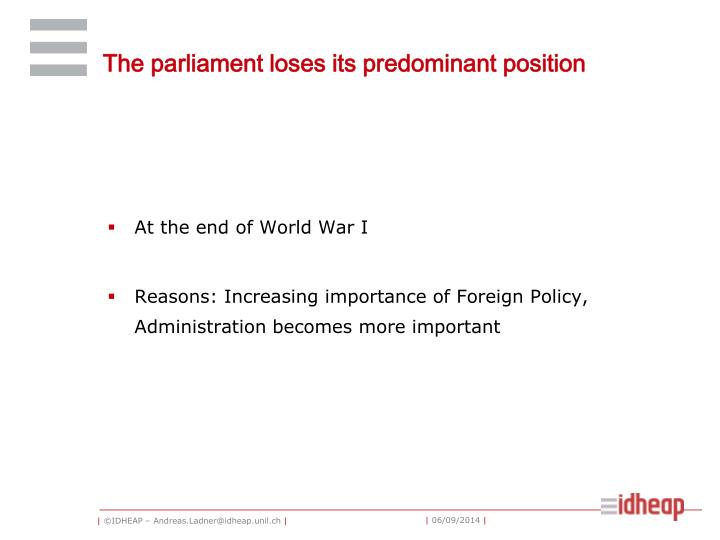 The parliament loses its predominant position