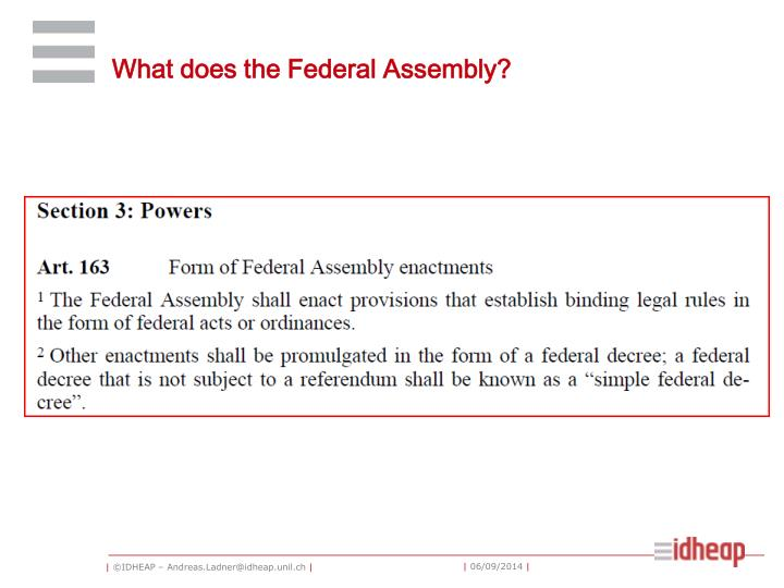 What does the Federal Assembly?