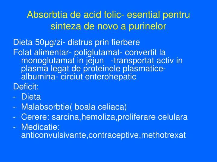 Absorbtia de acid folic- esential pentru sinteza de novo a purinelor