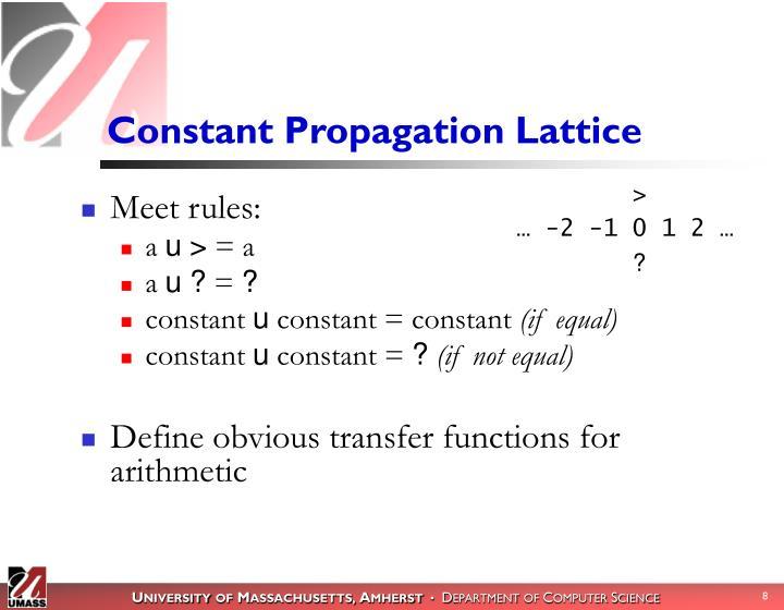 Constant Propagation Lattice