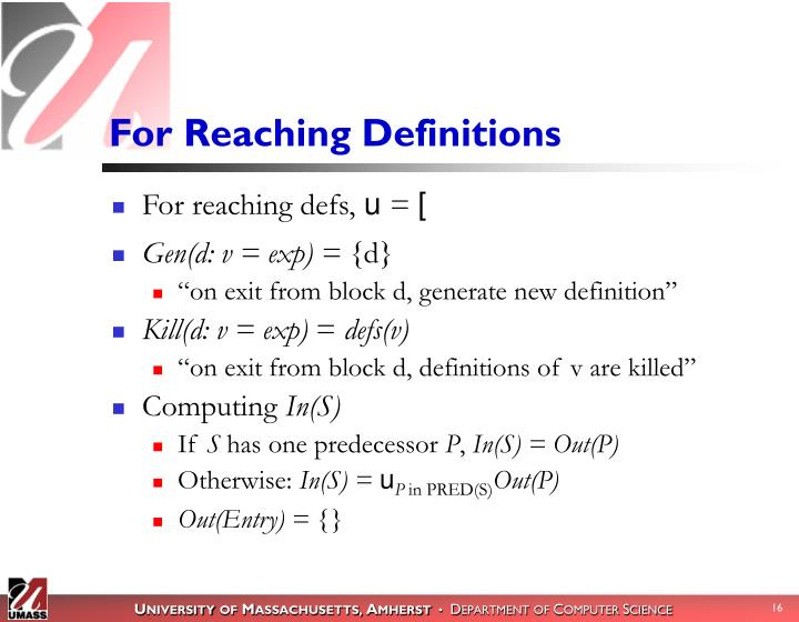 For Reaching Definitions