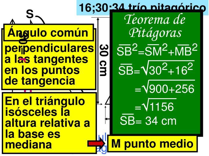 16;30;34 trío pitagórico